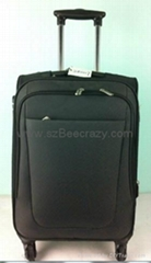 Aluminum trolley polyester carry on suitcase