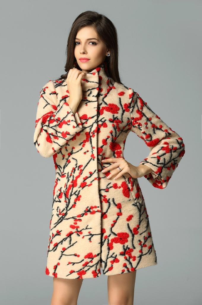 QEJIN 2014 woolen outerwear female medium-long plus size clothing cashmere woole 1