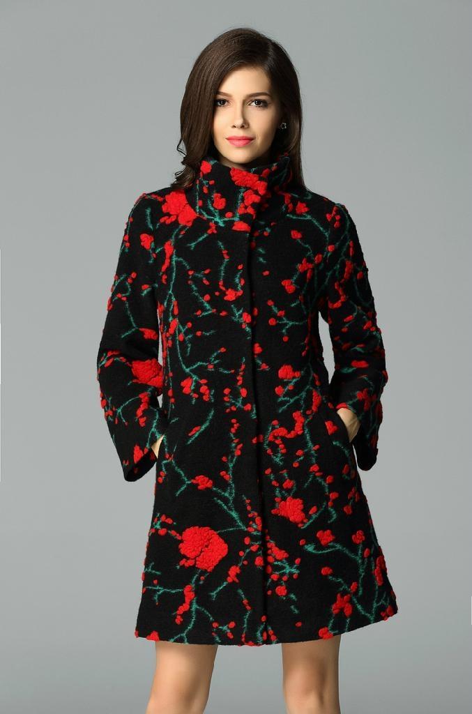 QEJIN 2014 woolen outerwear female medium-long plus size clothing cashmere woole 2