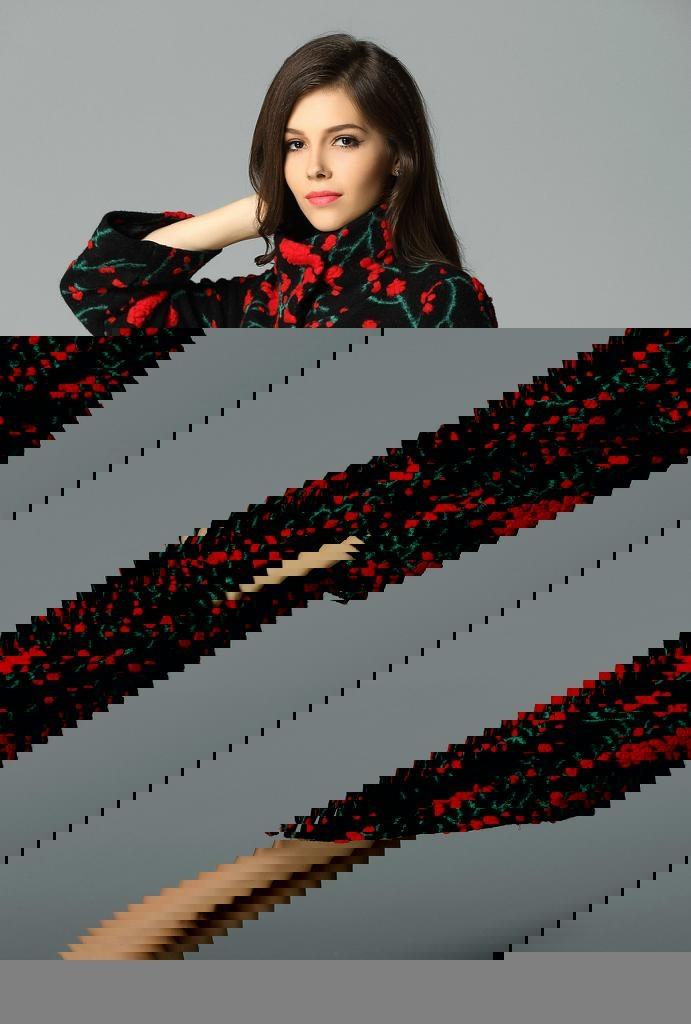QEJIN 2014 woolen outerwear female medium-long plus size clothing cashmere woole 3