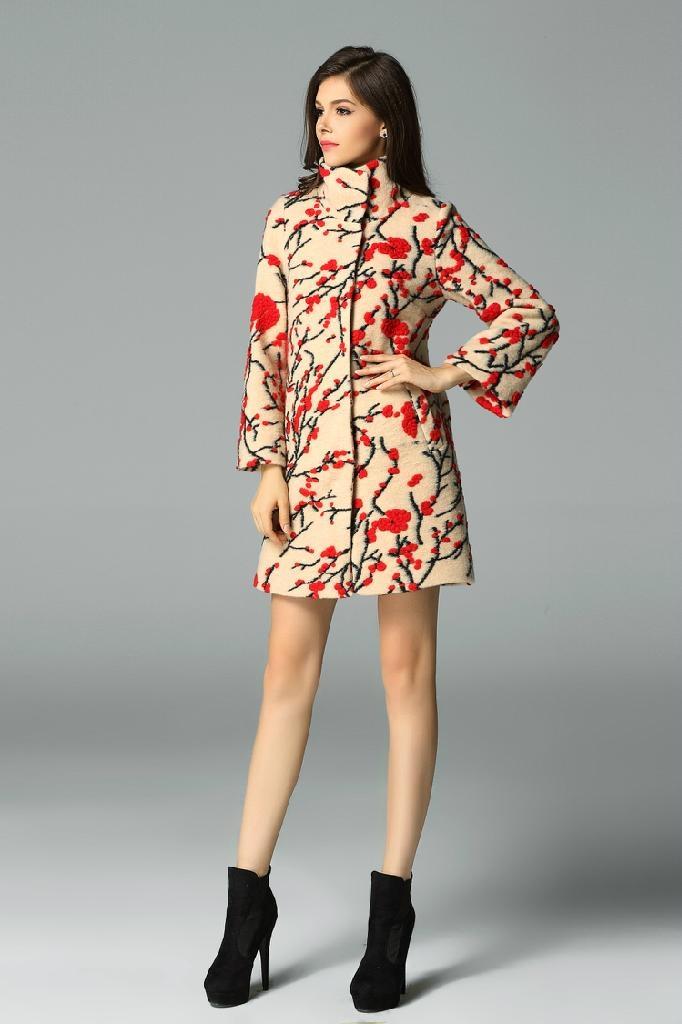QEJIN 2014 woolen outerwear female medium-long plus size clothing cashmere woole 4