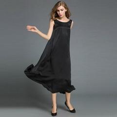 高雅性感禮服真絲無袖加長款禮服