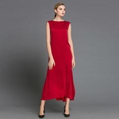 春夏新款純色真絲無袖長款連衣裙高雅修身晚會裙