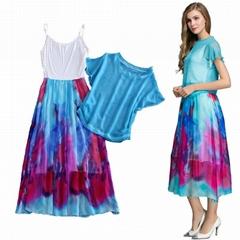 夏季新款藍色兩件套真絲長裙