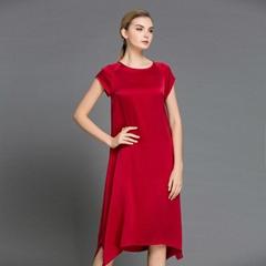春夏新款純色真絲中長連衣裙 寬鬆版