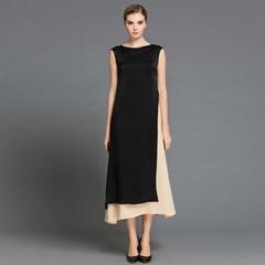 春夏新款真絲連衣長裙 無袖圓領撞色連衣裙