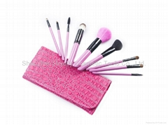 Cosmetic Brush Set - 9 pcs with Leather Pouch