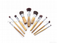 Cosmetic Brush Set - 10 pcs High Quality with Bamboo Handle