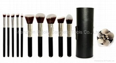 Makeup Brush Set - 10 pcs with black cylinder