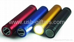 Hot gift promo LED torch 2600mAh mobile powerbank phone charger