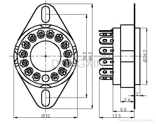 GZC14-F-A(GZC14-F-A-G) 14脚陶瓷管座 3