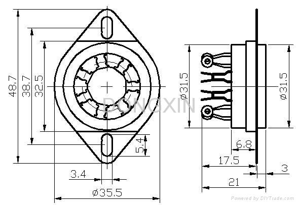 GZC7-C-2(GZC7-C-2-G) 七脚陶瓷管座 3
