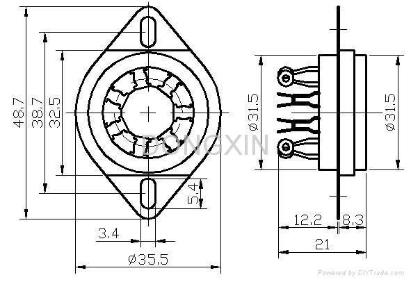 GZC7-C-1(GZC7-C-1-G) 七脚陶瓷管座 3