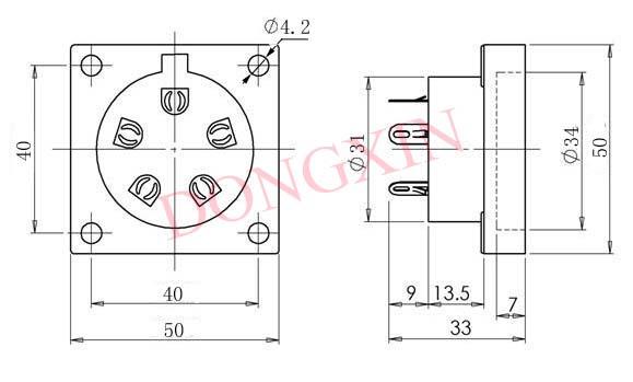 TUS-P5(TUS-P5-G)型瓷质五脚管座 4