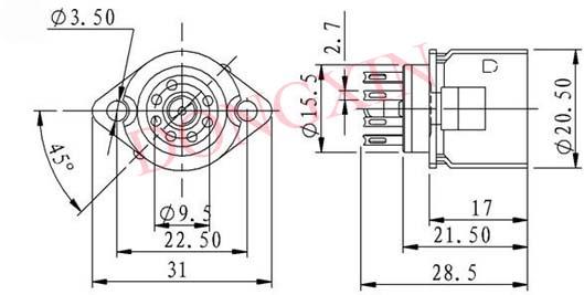 GZC7-F-B型瓷质七脚管座 3
