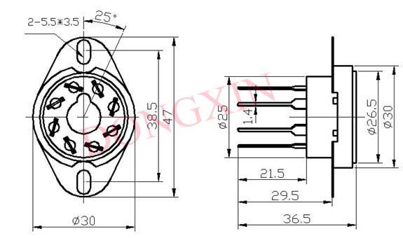 GZC8-Y-4(GZC8-Y-4-G)型瓷质八脚管座 4