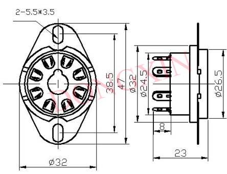 GZC8-Y-D(GC8-Y-D-G)型瓷质八脚管座 4