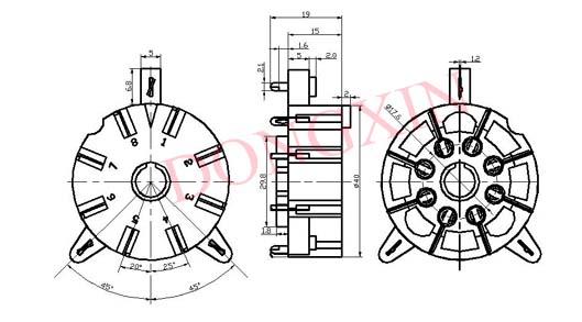 TUS8PC8C(TUS8PC8C-G)型瓷质八脚管座 3
