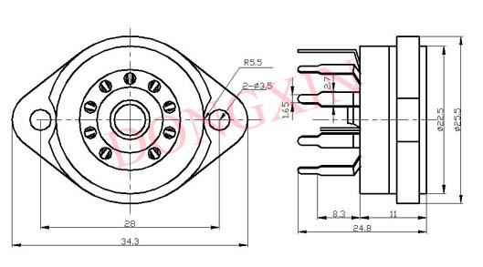 GZC9-Y-12(GZC9-Y-12-G)型瓷质九脚管座 3