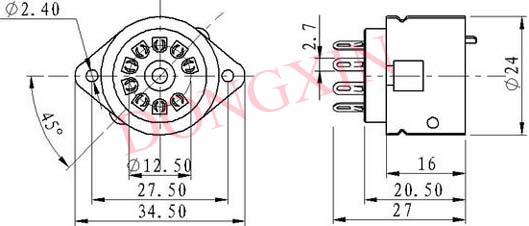 PCP9-1型铁壳胶木九脚管座 3