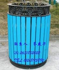 翻蓋式實木加鋼 商業街戶外垃圾筒