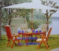 實木五件套桌椅 園林桌椅 庭院別墅戶外桌椅 泳池邊桌椅 1