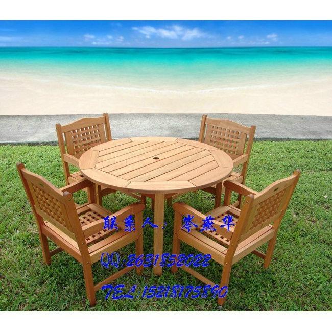 實木五件套桌椅 園林桌椅 庭院別墅戶外桌椅 泳池邊桌椅 3
