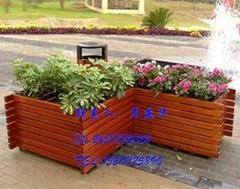 防腐木花箱,柵欄木質花箱,長方形實木花箱