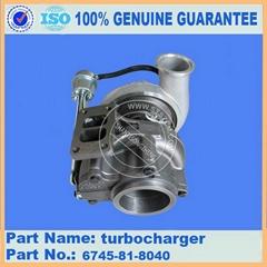 Komatsu excavator engine spare parts of PC300-8 turbocharger 6745-81-8040
