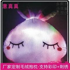 意真真厂家定做毛绒抱枕 LED七彩创意兔子发光抱枕 来图定做
