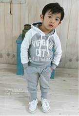 Baby boy Suits 2pc Hoody Coat+ Pants Letter Sporty Baby Clothes Set 90-130cm