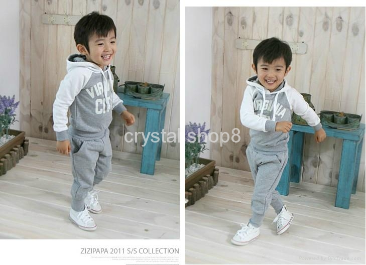 Baby boy Suits 2pc Hoody Coat+ Pants Letter Sporty Baby Clothes Set 90-130cm 2