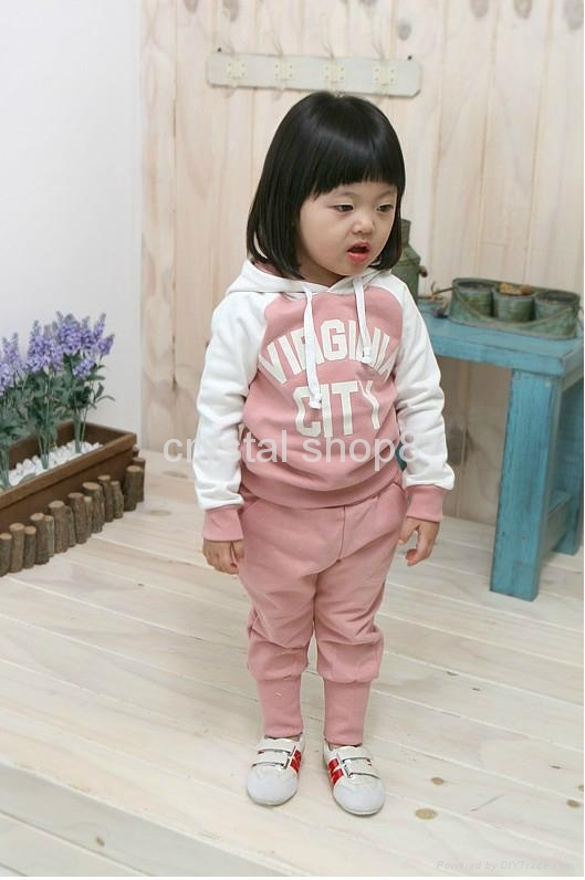 Baby Girl Suits 2pc Hoody Coat+ Pants Letter Sporty Baby Clothes Set 90-130cm 1
