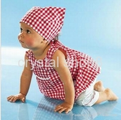 3 pieces Baby kerchief+ sleeveless dress+ white pant baby wear baby set