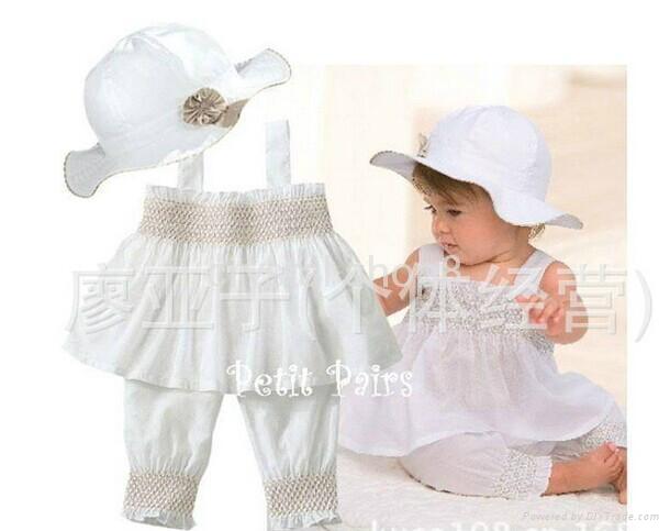 lovely hat + suspender skirt + pants/ 3 pieces set: hat + dress + pants 1