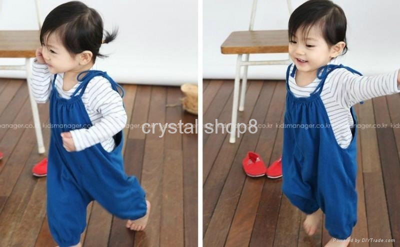 2 pcs  Striated T skirt + suspender pant ( very nice and lovely baby suit) 3