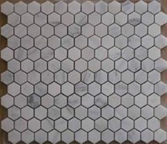 Hexagon honed or polished carrara white marble mosaics