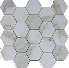 Marble mosaics with Italy calacatta gold