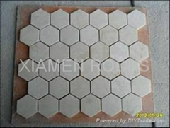 different shape for Beige marble mosaic with factory price
