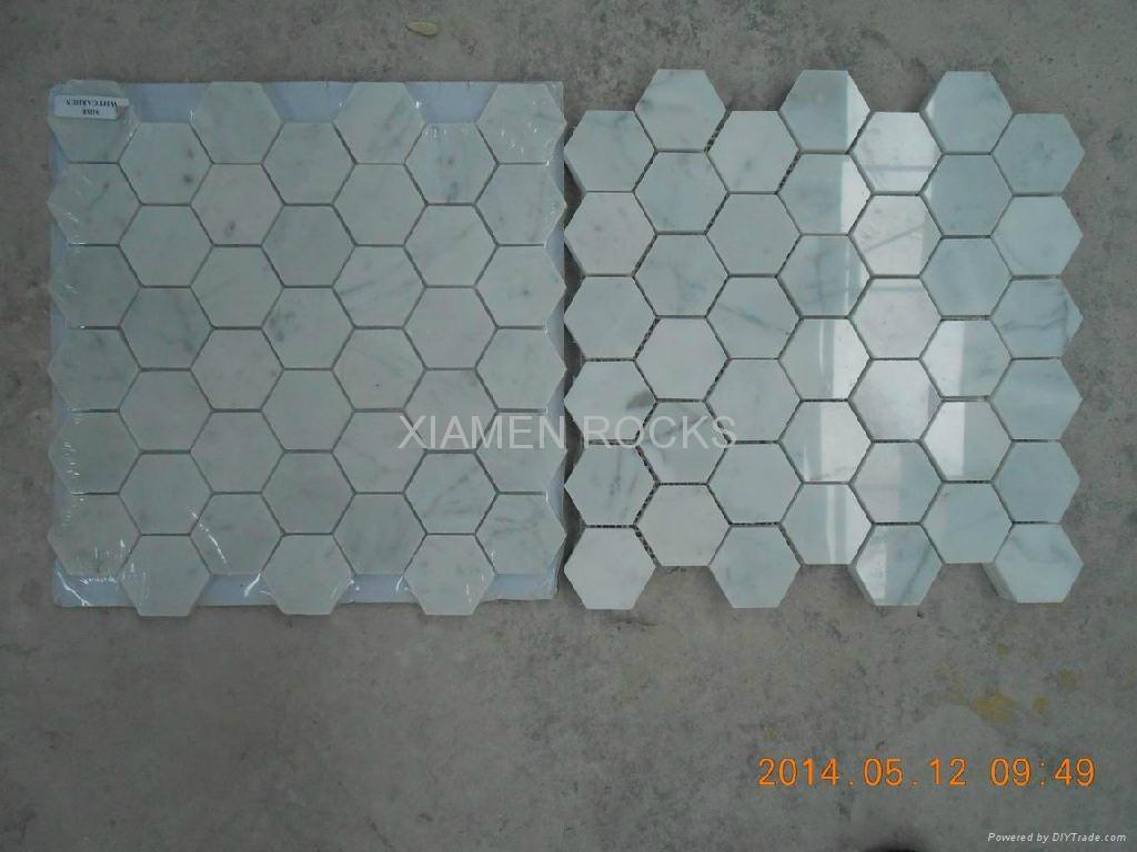 Polished Carrara White Marble Mosaics