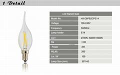 Classical Design Pure White UL Listed Led Filament Candle Bulb
