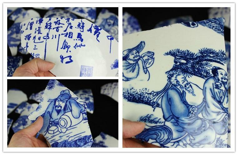 景德鎮仿古青花碎片 陶瓷裝飾馬賽克 5