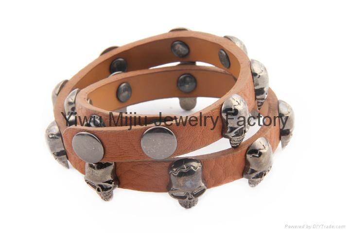 brown genuine leather skull wrap men bracelet 1