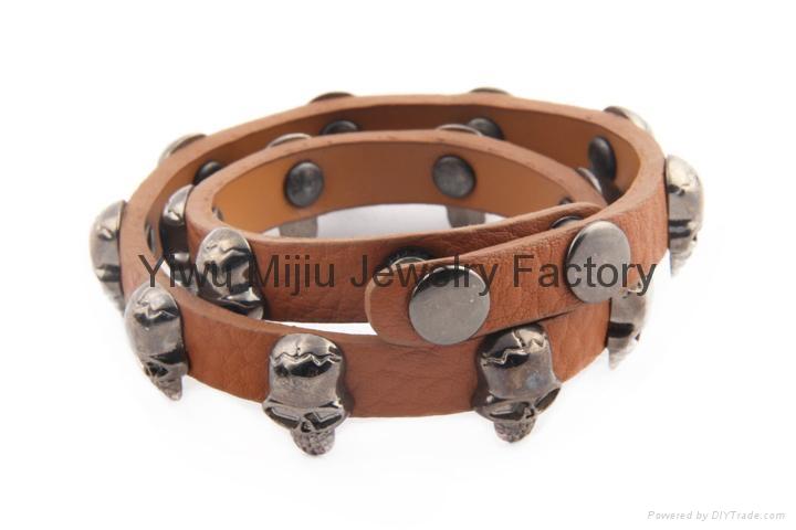 brown genuine leather skull wrap men bracelet 2
