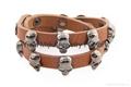 brown genuine leather skull wrap men bracelet 3