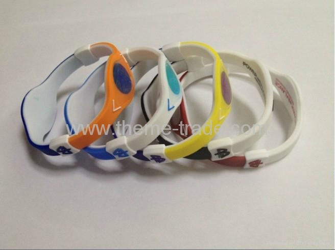Dual Color Power Balance Splicing Bracelet Games wristbands with Retail Box 2