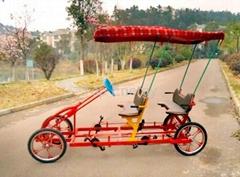 4 people rickshaw bike/self-driven pedal 4 seat bike for renting in park/bike