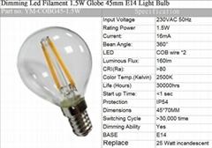 CE Dimming Led Filament 3.5W Globe 45mm E14 Light Bulb