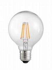 High lumen led filament Global bulb G80 3.5W E27 CE clear glass dimmable bulb