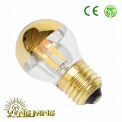 Led Filament 3.5W  Golden Mirror top G45 Light E27 dimming CE Bulb